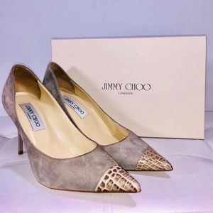 Jimmy Choo Suede Pumps with Crocodile Tips